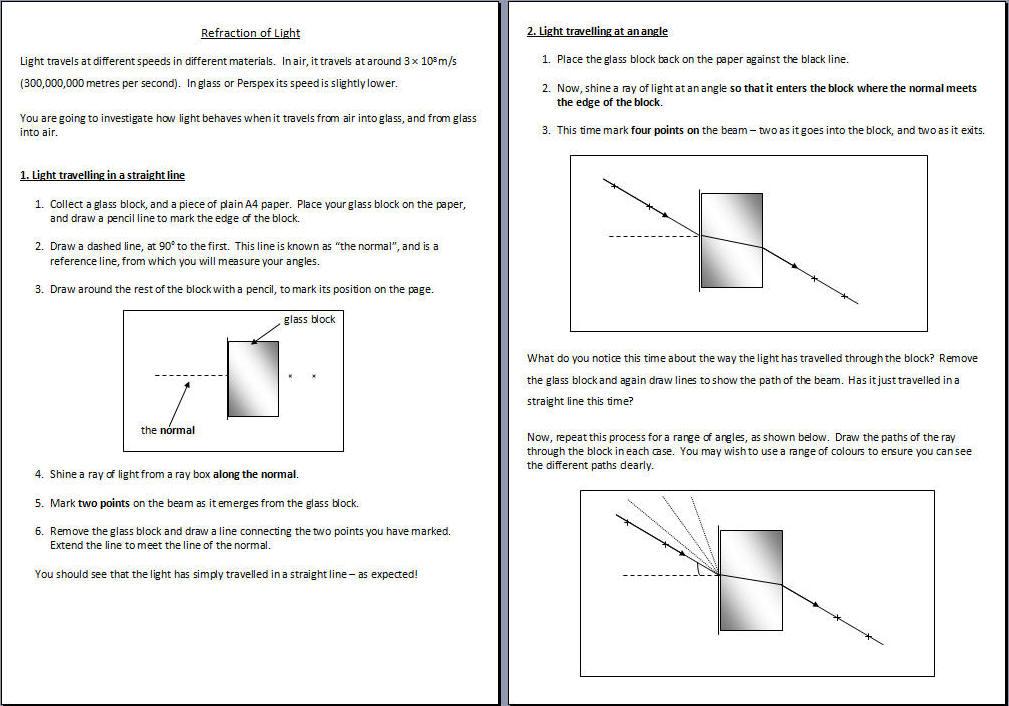 Wave Behaviour – Refraction Worksheet